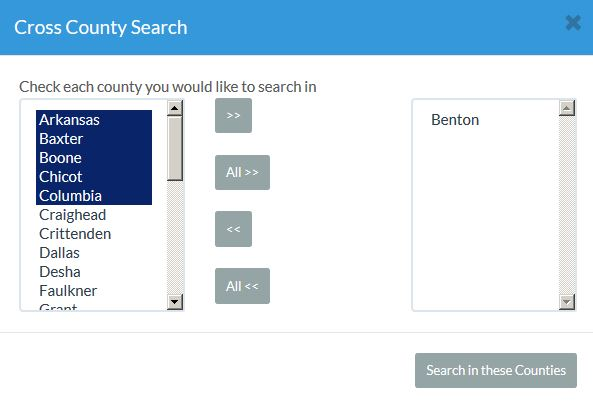 County Selection Pop Up Window